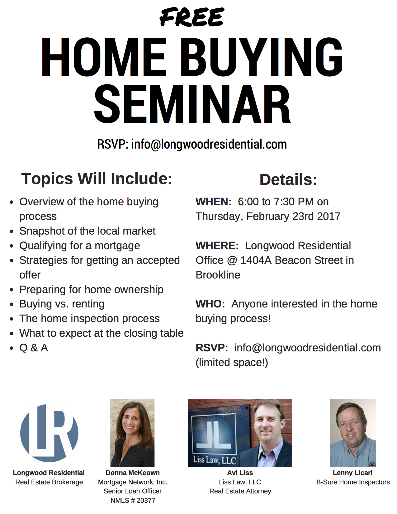 February 23 Home Buying Seminar - Flyer