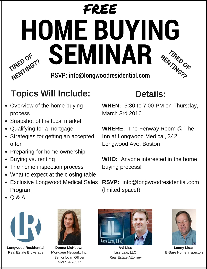 Free home buying seminar thursday march 3rd longwood for First time home buyers maine