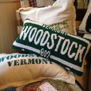Clover Gift Shop on Elm Street in Woodstock sells these homey pillows showing your allegiance to the