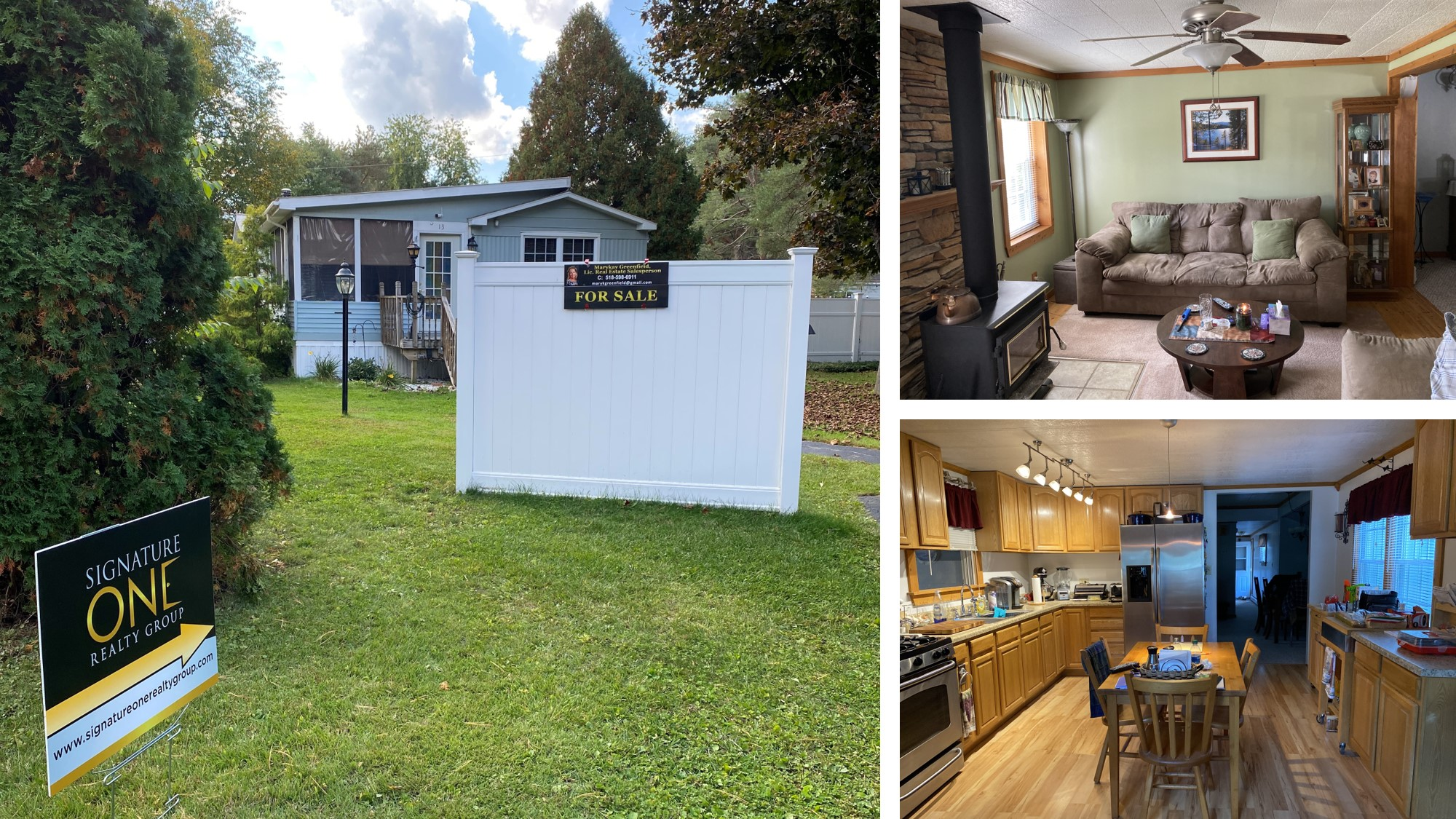 Mobile Home with interior of photos of the kitchen and living room