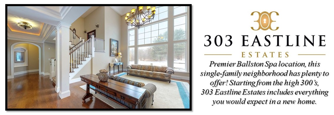 Open Living Room with Large Windows, Hallway and Staircase with Furniture. 303 Eastline Estate Neighborhood Logo with Description of the Community