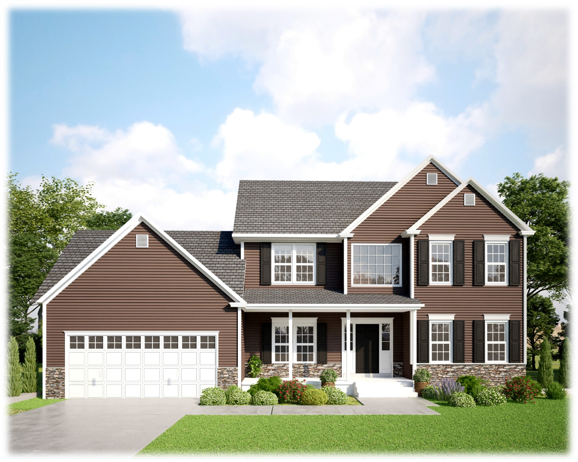 Brown Two Story Home with Black Shutters and a two car garage