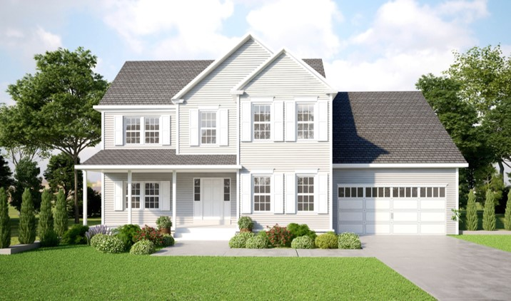 Light Gray Two Story Home with White Shutters and a two car garage