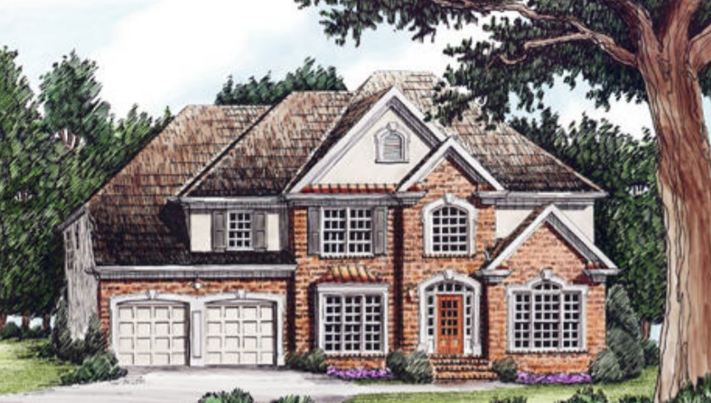 Fairy Tale Exterior Photo of a Two-Story Brick Home with Gray Shutters