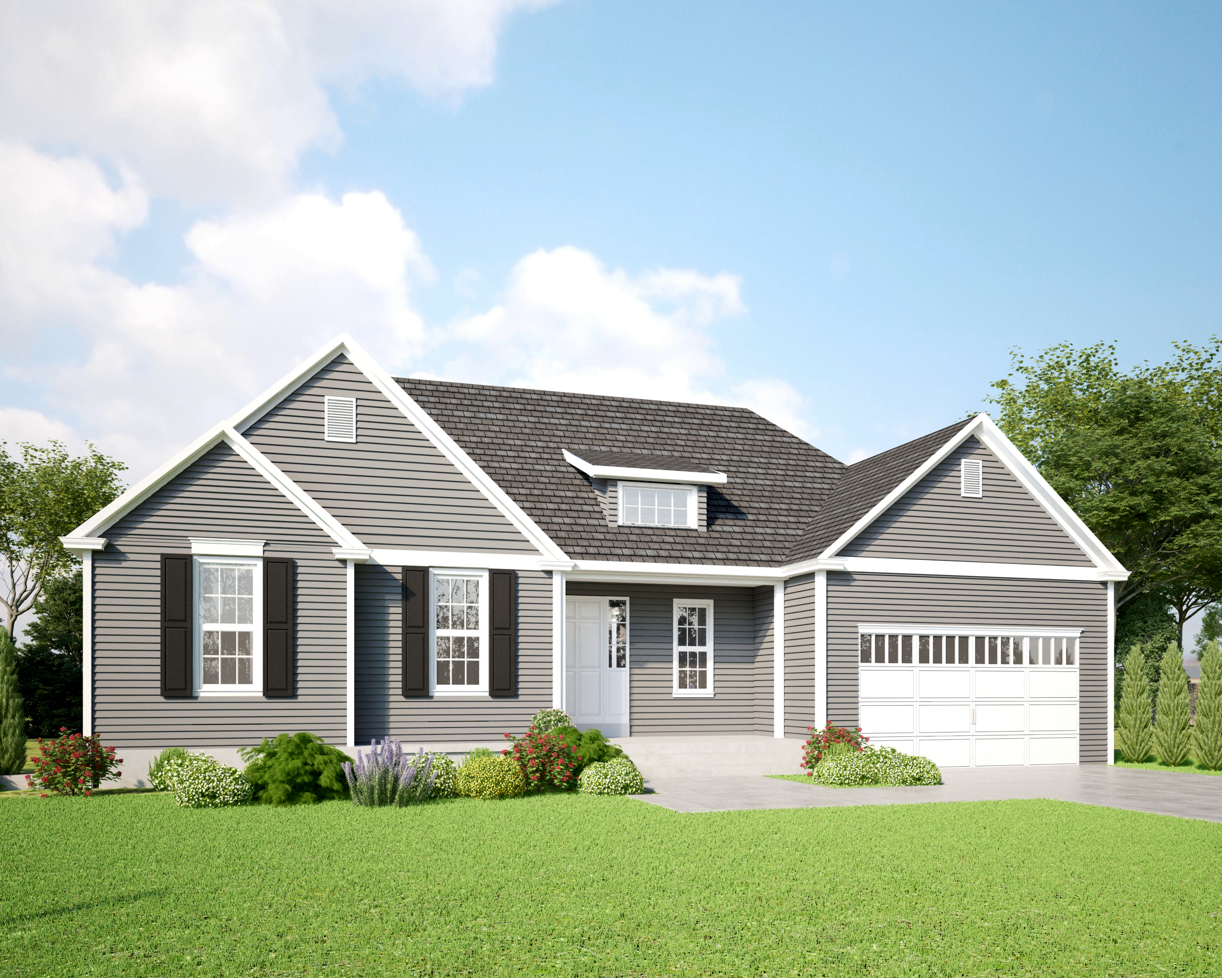 Engineered Exterior Photo of a Ranch Style Home - Gray with Stone and Black Shutters