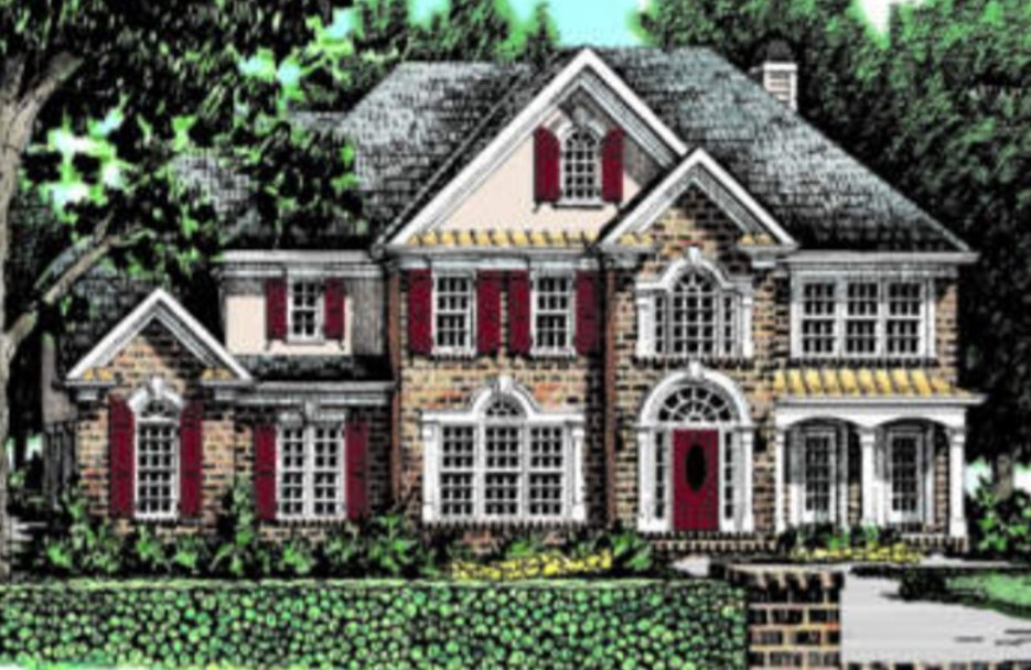 Fairy Tale Exterior Photo of a Two-Story Brick Home with Red Shutters