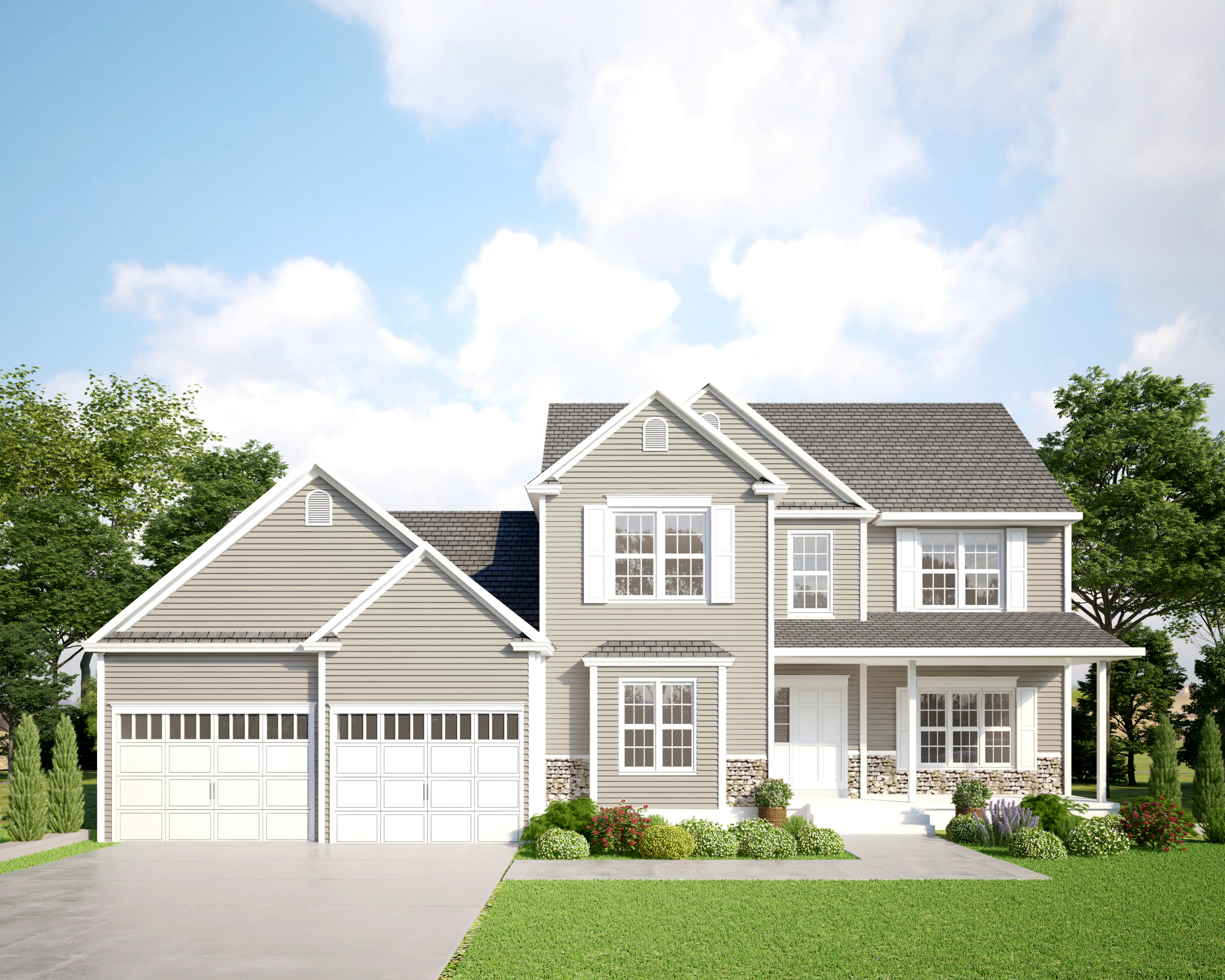 Gray Two story Home with Stone Veneer