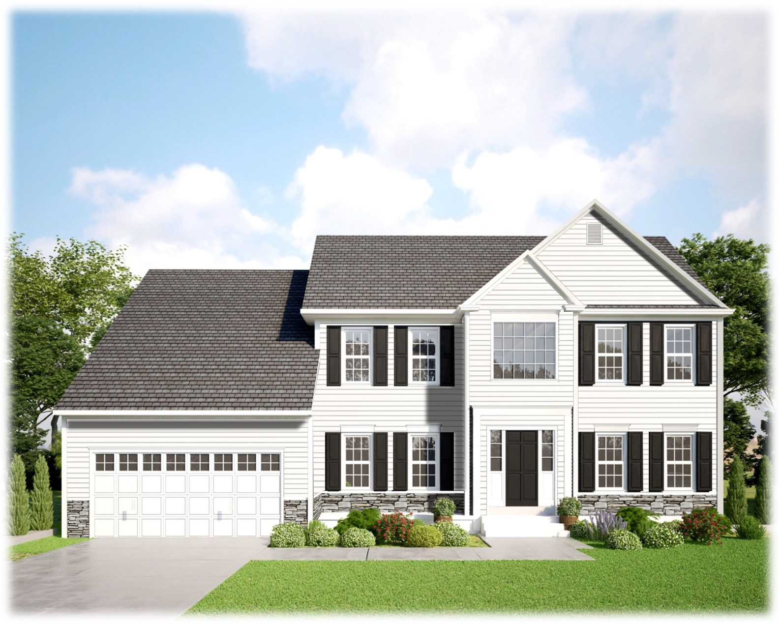 Dark Gray Two Story Home with Black Shutters and a two car garage