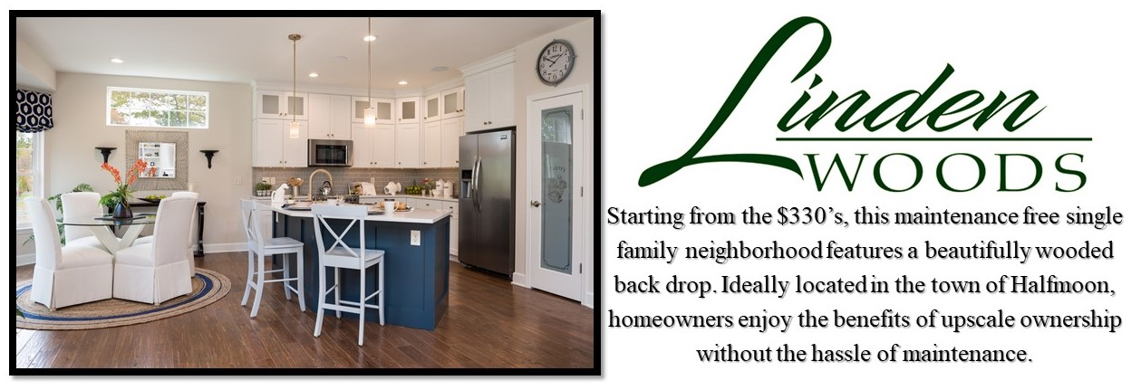 Open Kitchen with White Cabinets and a Navy Blue Island with White Countertops and Hardwoods throughout. Linden Woods Neighborhood Logo with Description of the Community