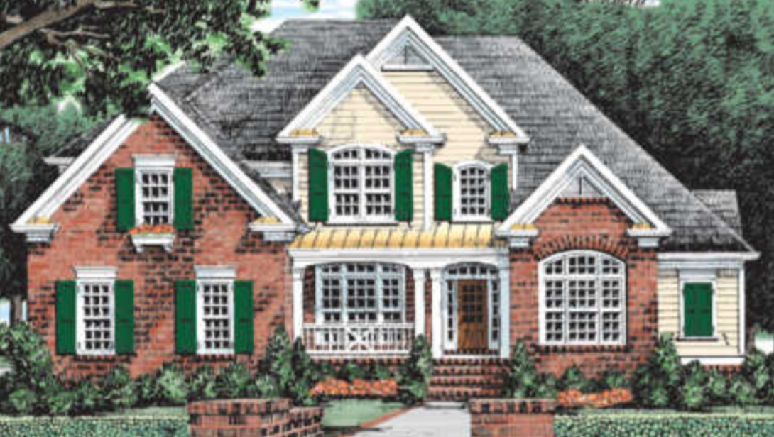 Fairy Tale Exterior Photo of a Two-Story Brick Home with Yellow Siding and Green Shutters