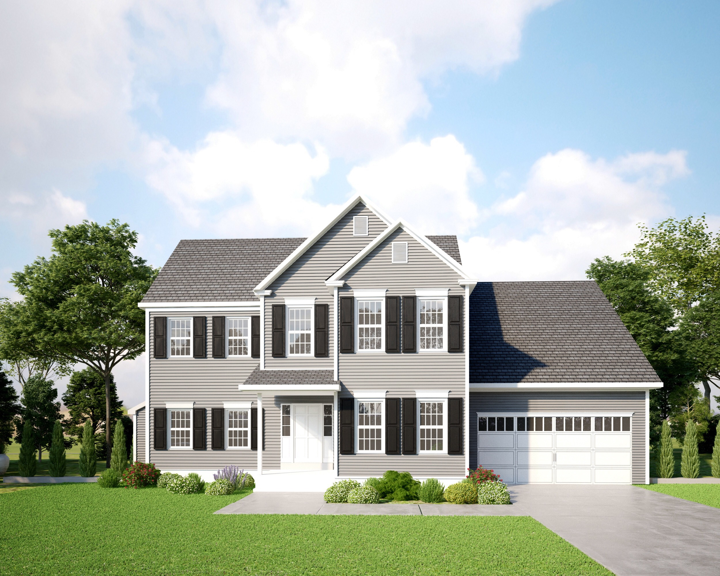Engineered Exterior Photo of a Two-Story Home - Gray with Black Shutters