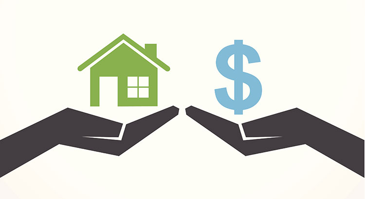 Home vs. Money with Gray Hands