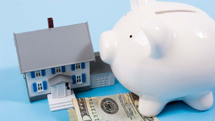 Fake Home with Dollar Bill and White Piggy Bank