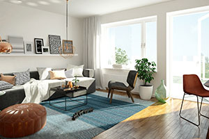 open living room with rug