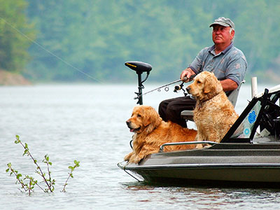 Fishing in Waterbury with 2 Golden Retrievers