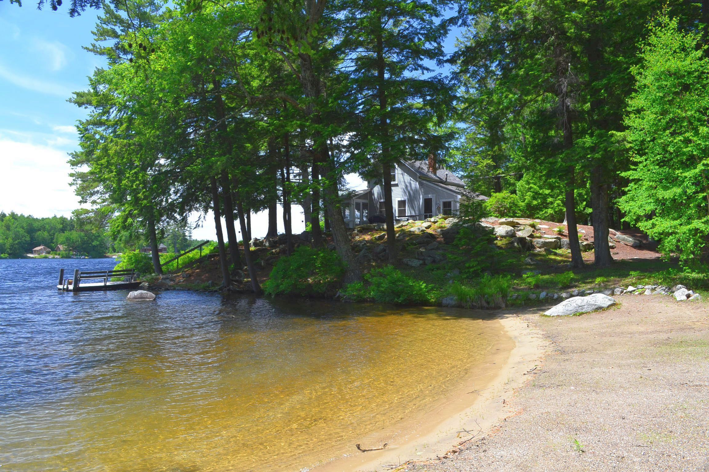 Lake Winnipesaukee Real Estate - Sandy beach home with sunsets