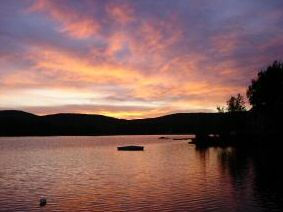 NH waterfront real estate - sunset lake view