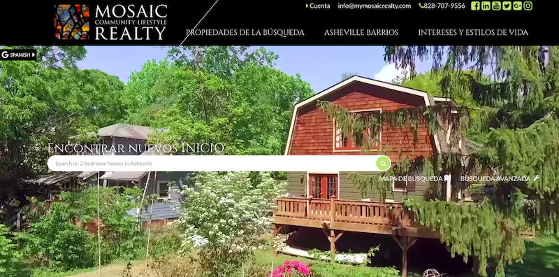 Mosaic Realty Website Asheville Homepage Spanish