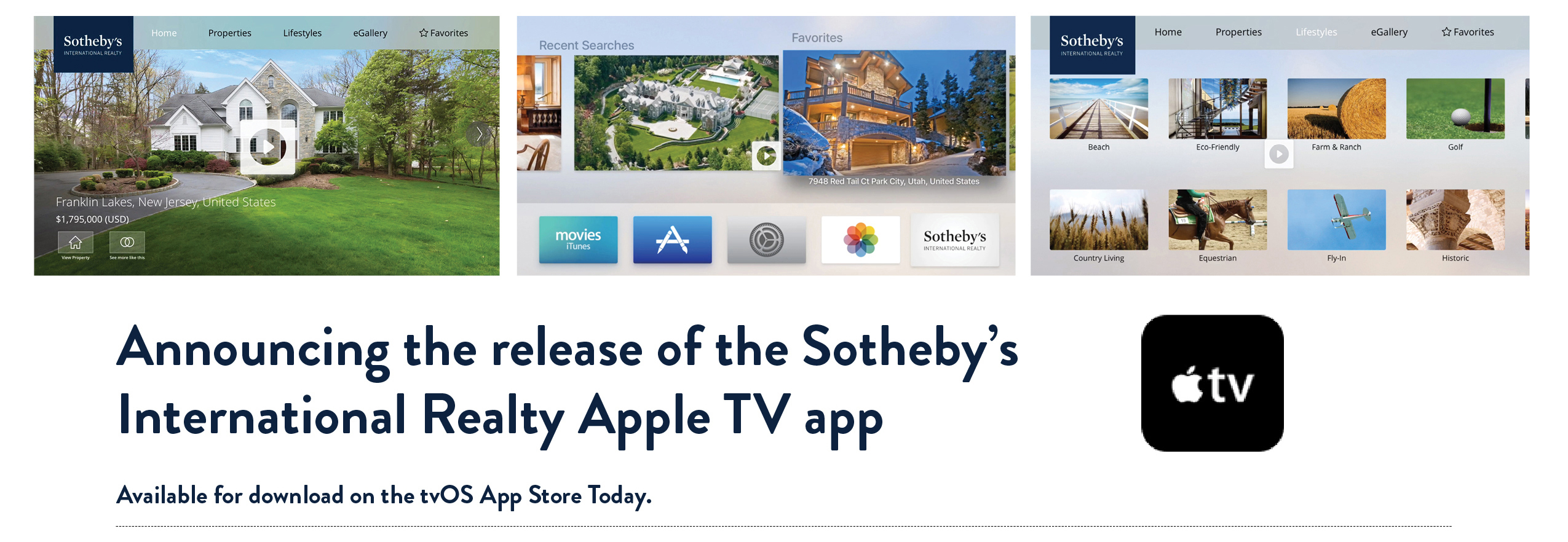 Sotheby's International Realty Launches tvOS app
