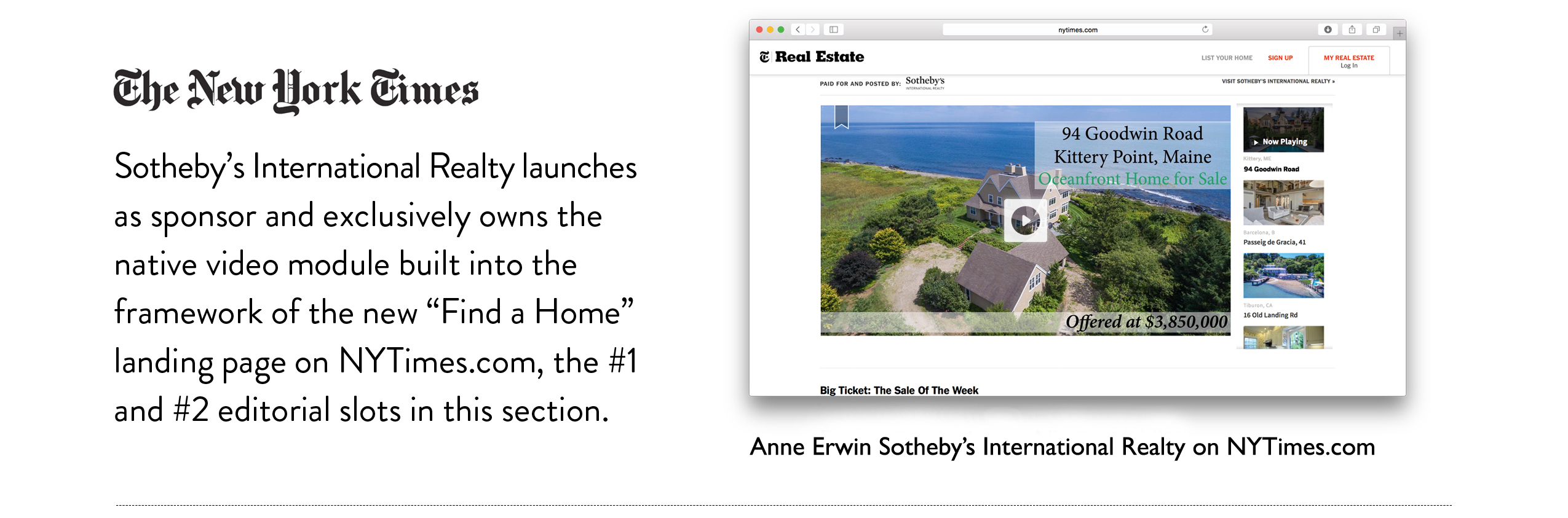 Anne Erwin Sotheby's International Realty's homes appear on New York TImes website