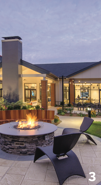 outdoor fire pit and furniture