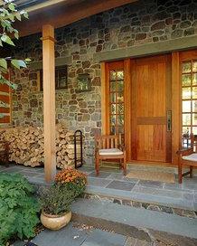 stone entryway wood rack