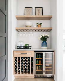 wine glasses, cooler and rack