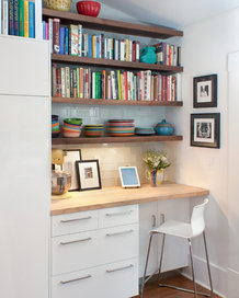 desk with chair and bookshelf