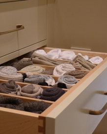 rolled up socks in drawer