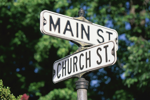 Sign post at the corner of Main St. and Church St. in Berwick Maine