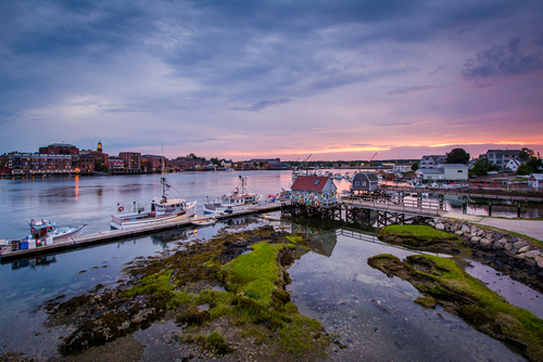 Sunset. Looking from Kittery Maine over at  Portsmouth New Hampshire