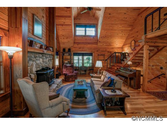 Spacious interior of WNC log home