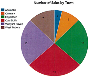 Q1 2019 Martha's Vineyard Number of Home Sales by Town