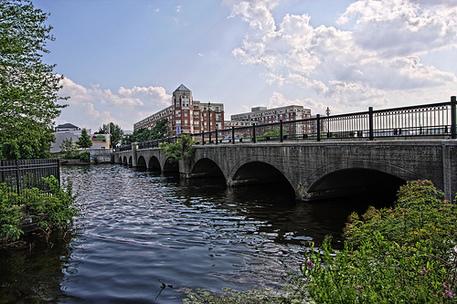 A bridge overlooking industrial buildings in Waltham, MA