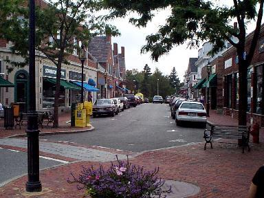 A busy urban street with shops in Winchester, MA