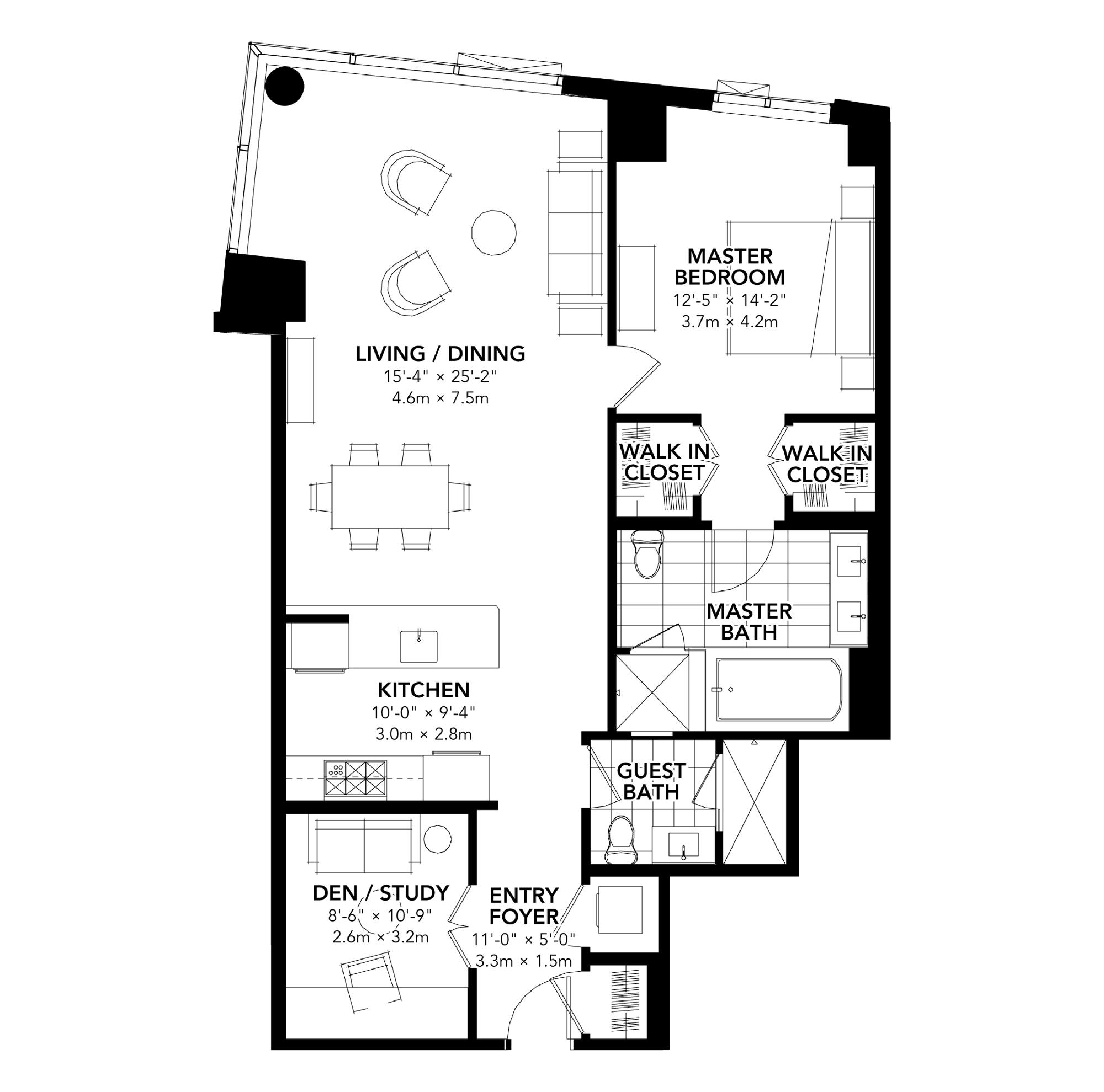 Fan Pier - Floor Plan - One Bedroom Plus