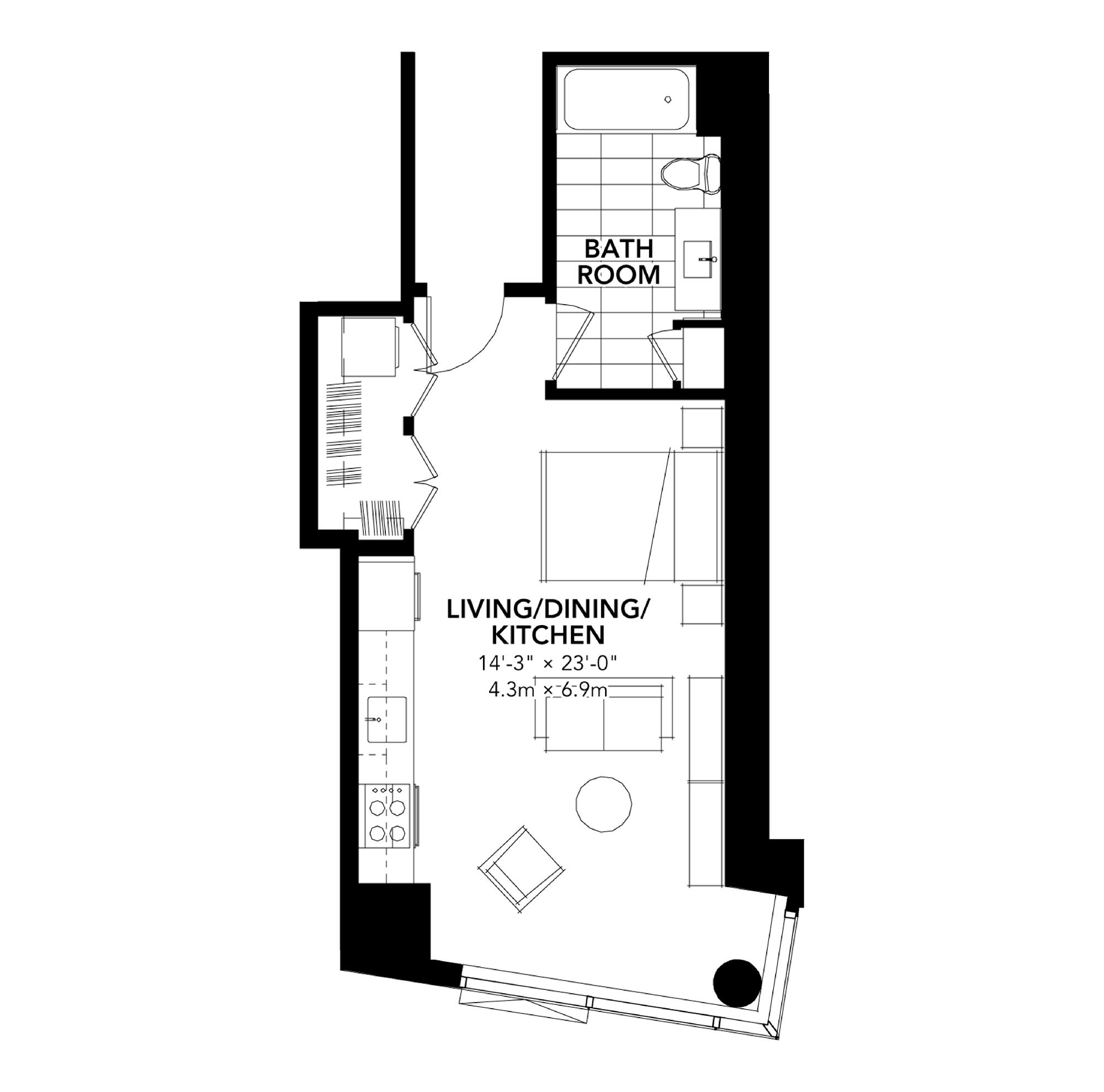 Fan Pier - Floor Plan - Studio