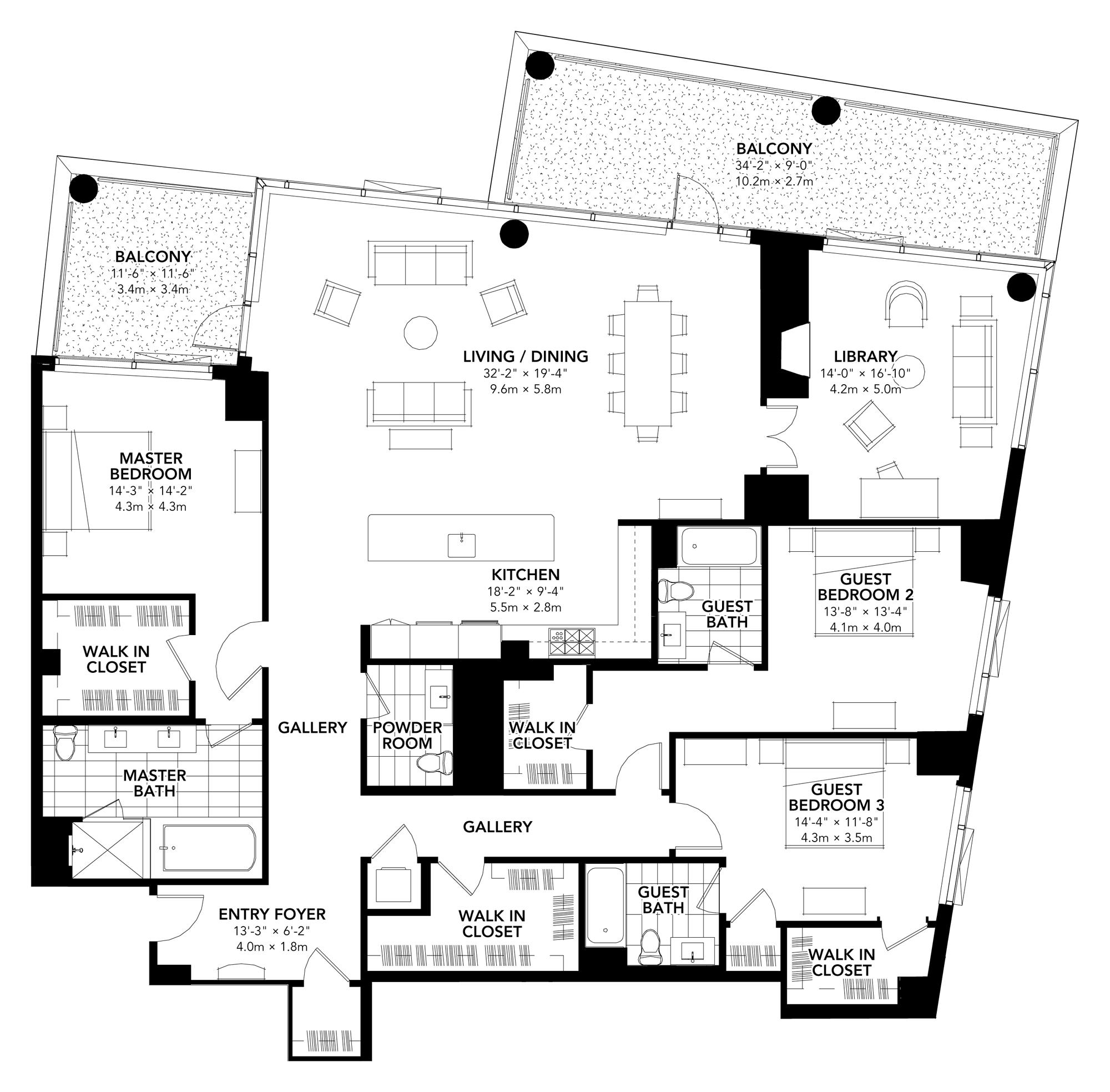 Fan Pier - Floor Plan - Three Bedroom Plus