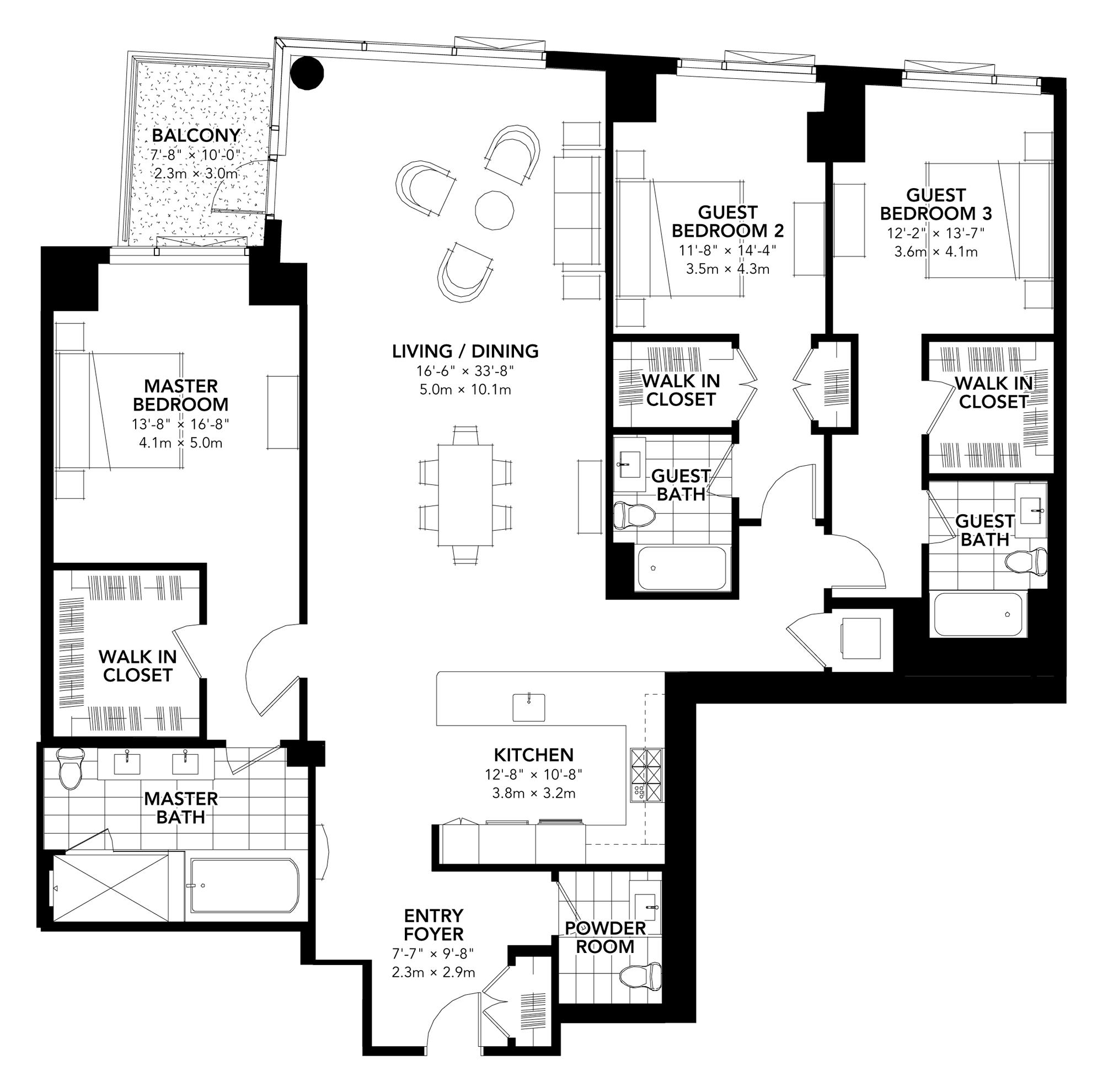 Fan Pier - Floor Plan - Three Bedroom