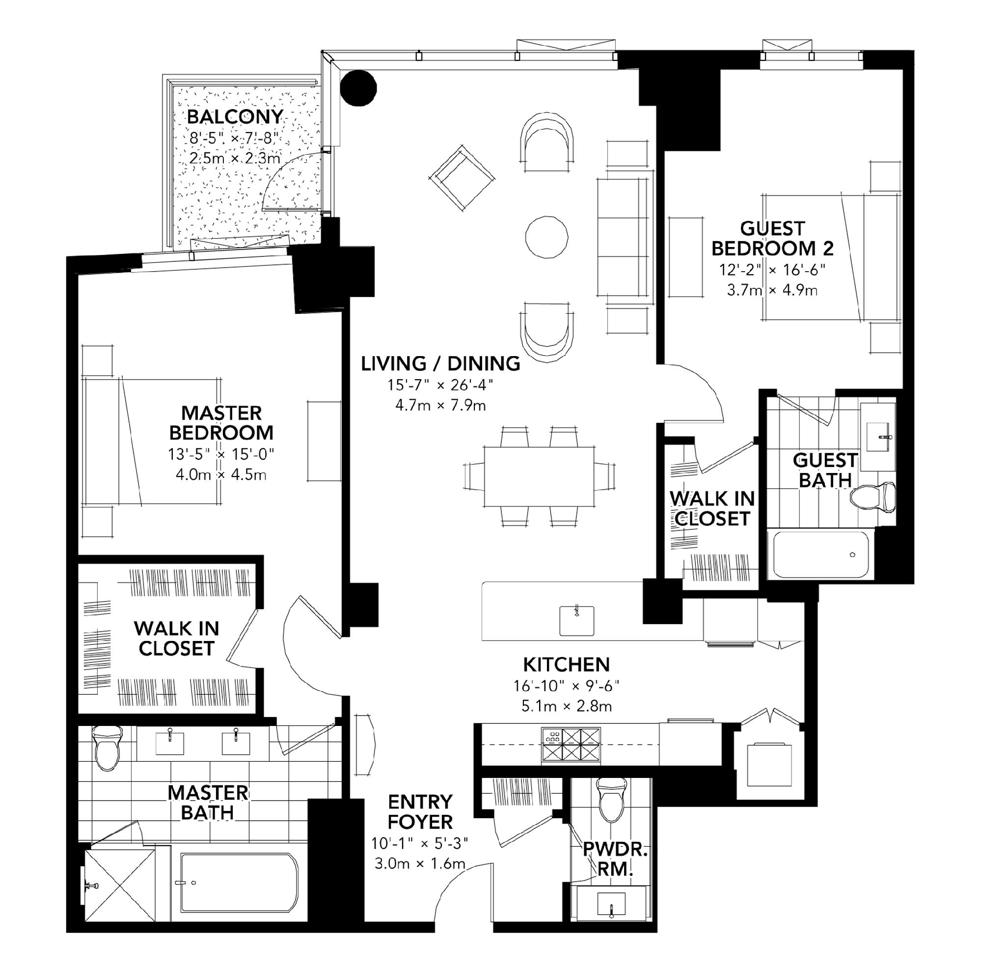 Fan Pier - Floor Plan - Two Bedroom A
