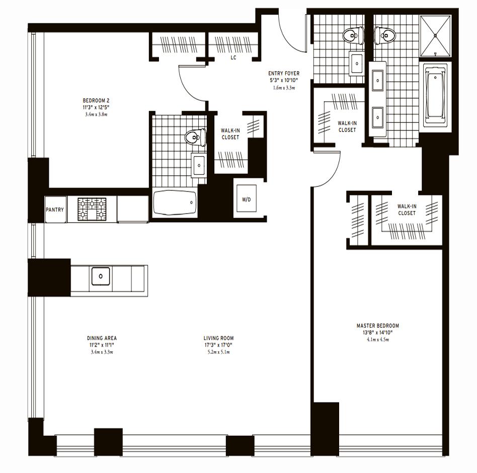The Clarendon Two Bedroom Floor 17