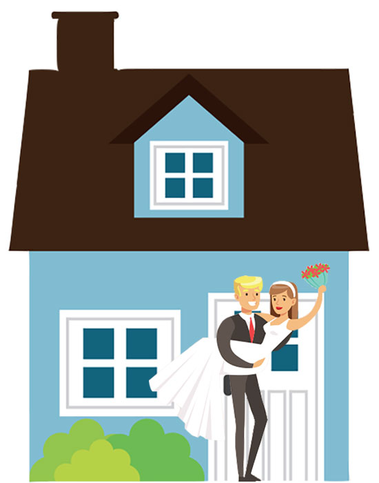 Newlyweds in front of Home Cartoon - NH Real Estate
