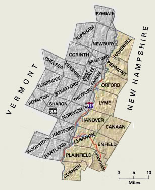 Upper Valley Map NH