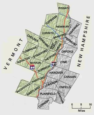 Upper Valley Vermont Map