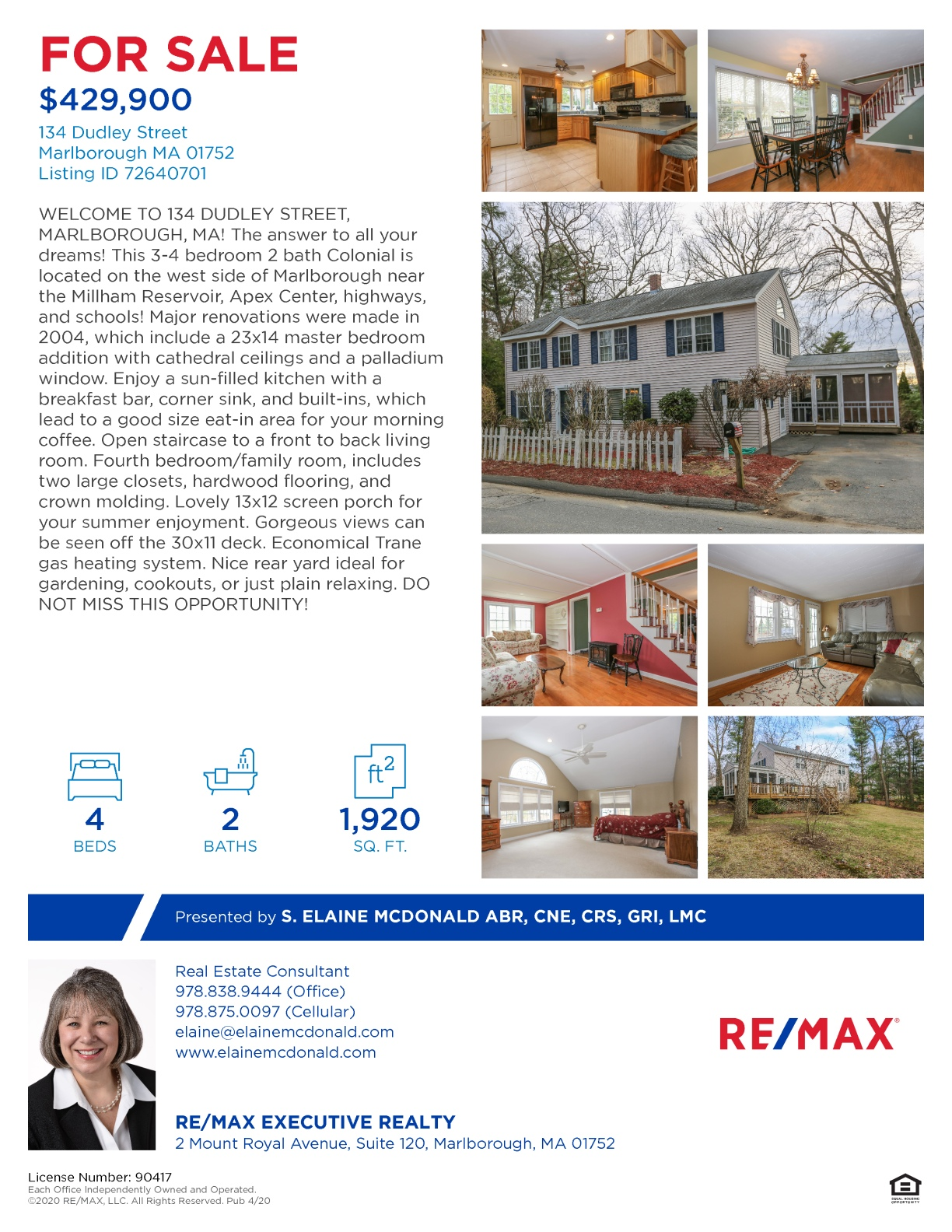 134 Dudley Street, Marlborough, MA One Page Feature Sheet