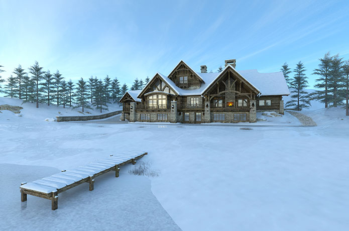 Lake House in Winter