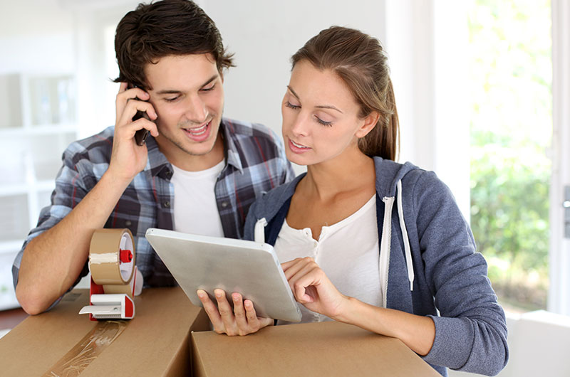Couple Calling Movers