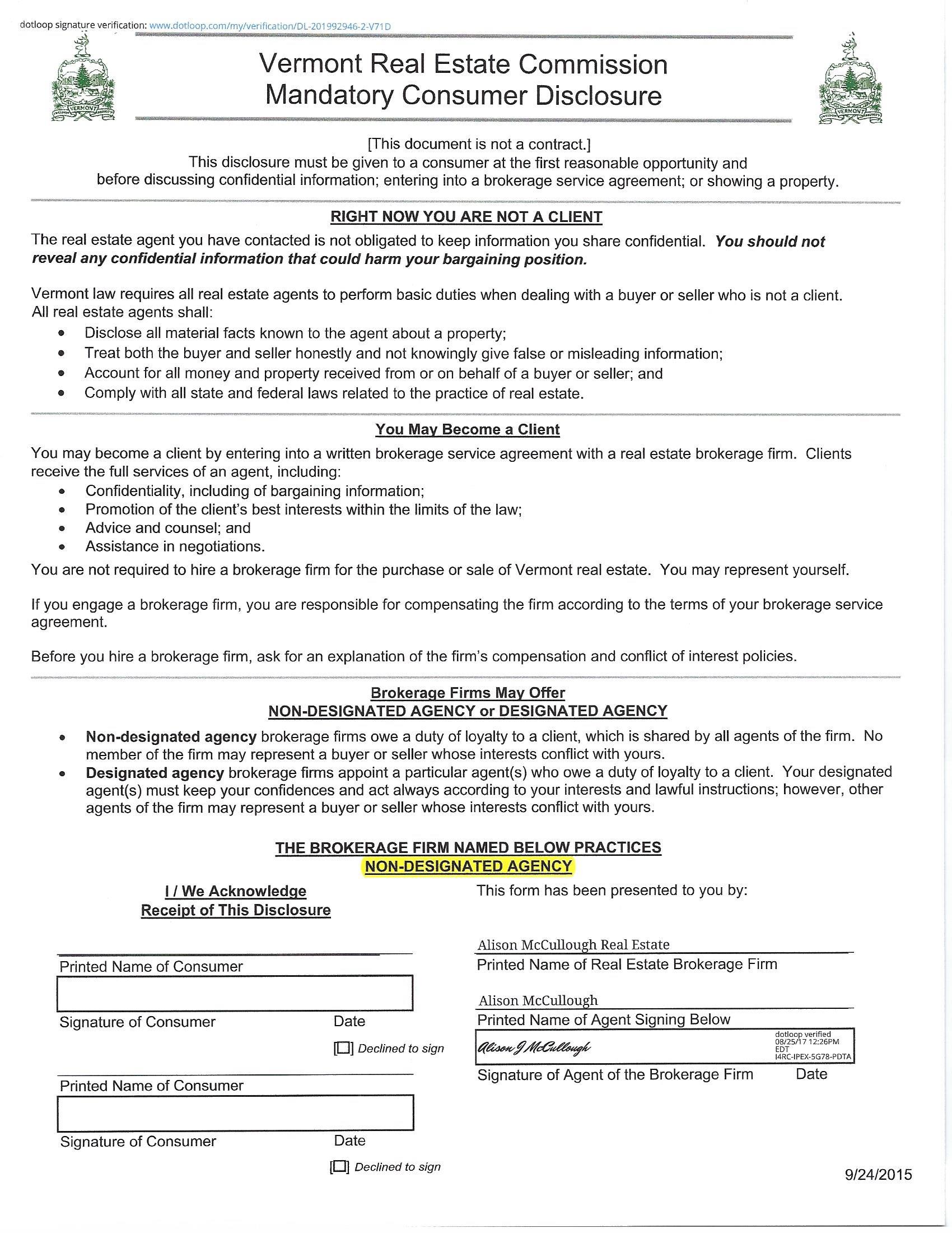 VT Disclosure Form