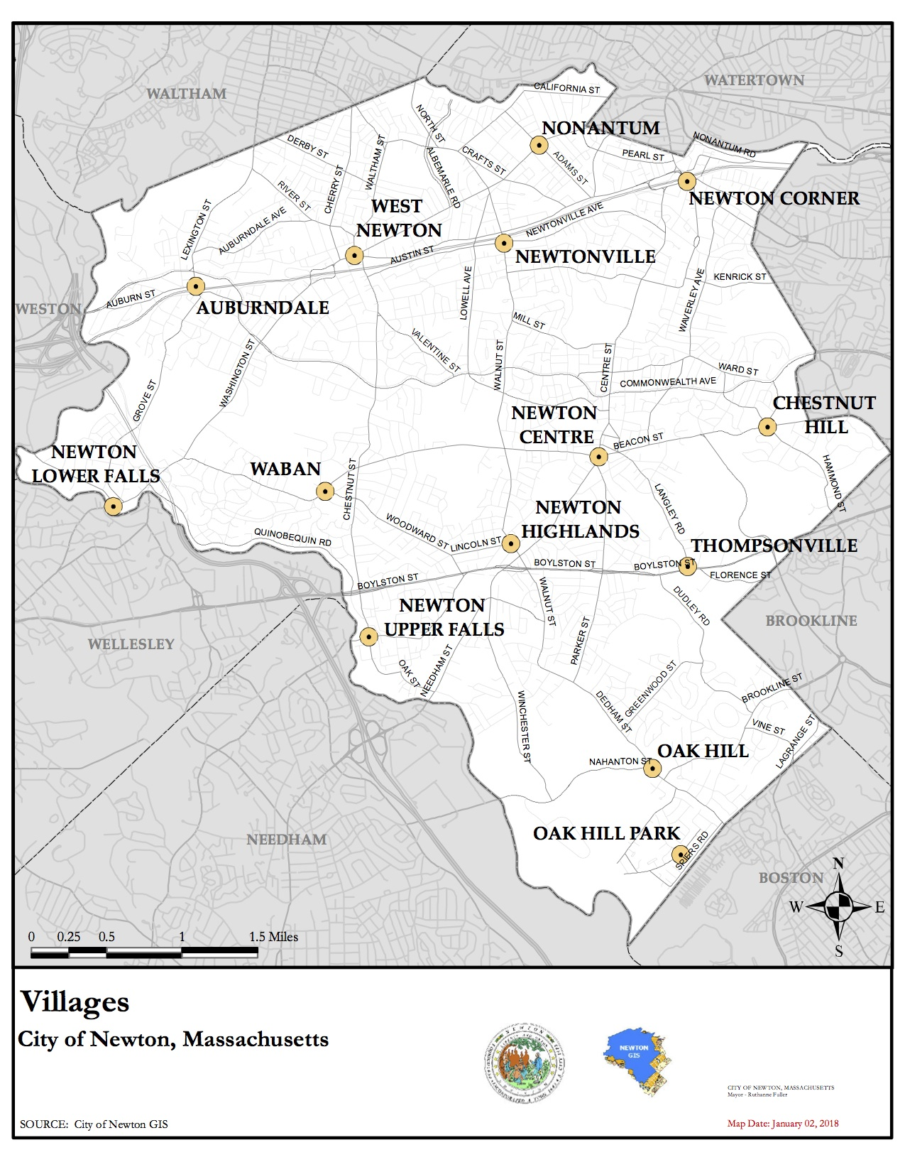 Map of Newton Villages and Neighborhoods