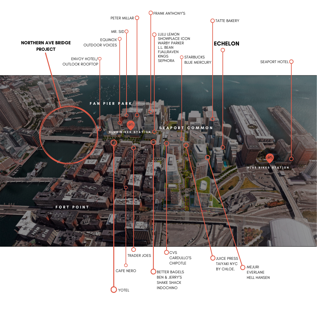 Map of Area Amenities for Echelon Seaport